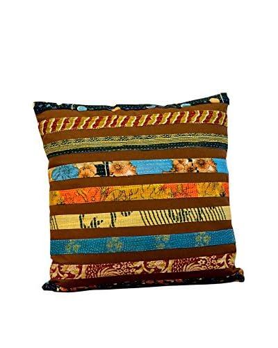 Stripe Pillow, Brown Base/Stripes Multi