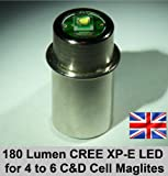 TTS 3 Watt CREE LED 180 Lumen upgrade conversion bulb for the 4 to 6 D and C Cell Maglite Torch