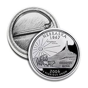NEBRASKA State Quarter Mint Image 1 inch Mini Pinback Button