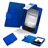 Forefront Cases T4 BLUE L Leather Case Cover Wallet with LED Reading Light for Amazon Kindle 4 - Blue