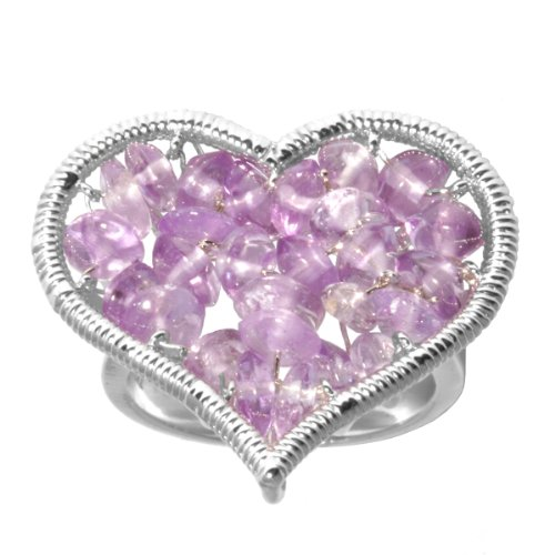 Sterling Silver Amethyst Heart Ring, Size 6