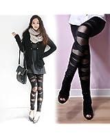 Collant Legging Tregging Pantalon Stretch Sangle Croix Noir Femme Sexy Fantaisie