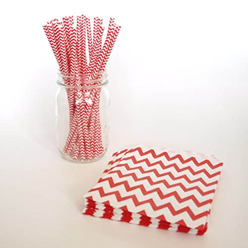 Chevron Bags, Stripe Paper Straws, Red Party Bags, Thick Drinking Straws, 2 Combo Party Supply Kit - Red Chevron back-1069893