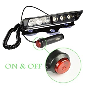 Emergency Lights, 16 Flashing Modes Bright Blue LED Warning Strobe Lighting for Vehicle Dash Windshield, Black