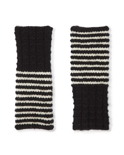 FreeFingers Women's Stripe Fingerless Gloves  [Black/White]