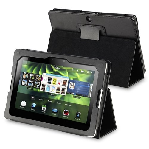 Cheap eForCity PU Leather Flip Pouch Skin Case Cover with Stand for Blackberry Playbook, Black (PBLA...