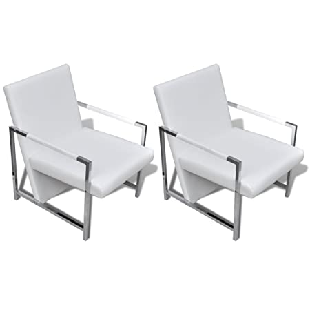 vidaXL Sillón Blanco Cúbico con Patas Cromadas de Alta Calidad - 2 Piezas
