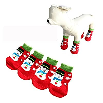 FEITONG 4Pcs Christmas Pet Dog Socks Cute Cartoon Christmas Snowman Dog Non-slip Warm Socks