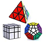 Vdealen Cubo mágico Puzzle Pack - Pyraminx,Megaminx,Silver Mirror 3x3x3