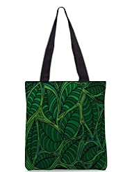 Snoogg Abstract Sketch Of Leaf Background Vector Illustration Designer Poly Canvas Tote Bag