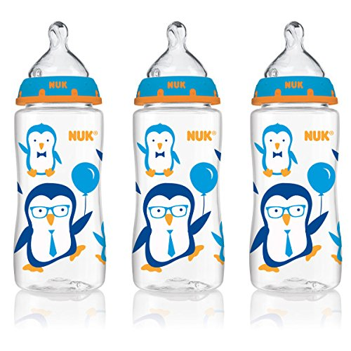 NUK 14098 Blue Penguins Baby Bottle with Perfect Fit Nipple, 10 Ounces, 3 Pack - 1