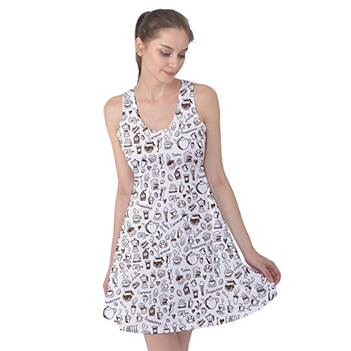 PattyPattern Womens Coffee Hand Drawing Elements Pattern Reversible Sleeveless Dress (M, White) (Tamper Mr Coffee compare prices)