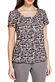 Animal Print Bubble Hem Top [T62-3688K-S]
