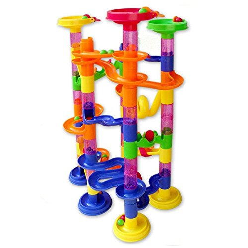 Marble-Run-Coaster-105-Piece-Set-with-75-Building-Blocks30-Glass-Race-Marbles-CEStore-Learning-Railway-Construction-DIY-Constructing-Maze-Toy-Game-for-All-Family-Non-toxic-tasteless-Durable