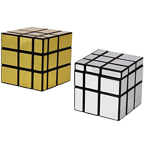 2 Pack Shengshou 3x3x3 Square Mirror Speed Cube Puzzle Golden & Silver - 1