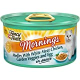 Fancy Feast Wet Cat Food, Mornings Medley, with White Meat Chicken Garden Veggie and Egg in Sauce, 3-Ounce Can, Pack of 24
