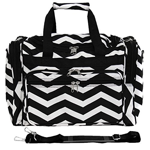 World Traveler 16 Inch Duffle Bag, Black White Chevron