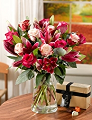 Rose and Lily Bouquet with Vase and Chocolates