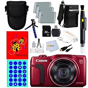 Canon SX710 PowerShot Point and Shoot Digital Camera - Red + 32GB Memory Card + 3 Batteries + Reader + Charger + Flexible Gripster Tripod & more