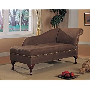 Brown microfiber chaise lounger with storage space for Brown microfiber chaise lounge