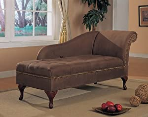 Brown Microfiber Chaise Lounger with Storage Space