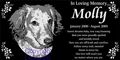 "Personalized Long-haired Dachshund Pet Memorial 12""x6"" Engraved Black Granite Grave Marker Head Stone Plaque MOL1"