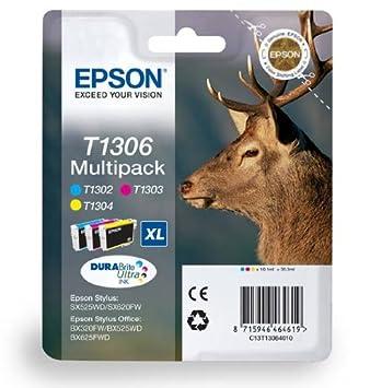3 Cartouche d'encre pour Imprimante Epson WorkForce WF 3520DWF - Cyan / Magenta / Jaune- Avec Puce