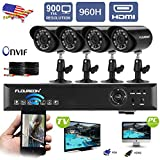 Floureon 4CH 960H Onvif CCTV DVR with 4 x 900TVL Night Vision Bullet Cameras Kit (Cloud-Based Remote Access, Smart Motion Detection, Email Alert, Home Security System)