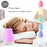 URPOWER 2nd Version Essential Oil Diffuser Aroma Essential Oil Cool Mist Humidifier with Adjustable Mist Mode,Waterless Auto Shut-Off & 7 Color Led Lights Changing for Home Office Baby, 100 ml