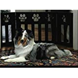DIE-CUT 3 PANEL ADJUSTABLE WOOD PAW PRINT DESIGN PET GATE - BLACK