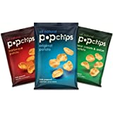 Popchips Popped Chip Snack Variety Pack (0.8 Oz. - 12 Pack) Never Fried, Never Baked!!!!! Three Flavor Variety Mix (4 Barbecue Potato - 4 Original Potato - 4 Sour Cream & Onion Potato)