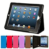Snugg Black Leather iPad 2 Case with Lifetime Guarantee - Flip Stand Cover with Auto Wake/Sleep, Elastic Hand Strap & Protective Premium Nubuck Fibre Interior for the Apple iPad 2by Snugg