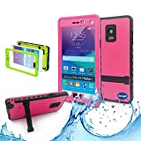 Samsung galaxy Note 4 IP-68 Untra Kick-stand Waterproof Case Cover ,Nika shop Swimming Diving New Full Body Crystal 6.6 Ft Underwater Attached Screen Protector Waterproof Water Resistant Heavy Duty Slim Case Cover for Samsung galaxy Note 4 Phone, Rugged Hard Armor Underwater Durable Full Body Sealed Protection Skin Pouch dirtproof dustproof Snowproof Sweatproof Shockproof Hard Armor Protective Heavy Duty Defender Built-in Screen Protector Rugged Cover Case for Samsung galaxy Note 4 +Free Screen Protect + Hand Strap - Retail Packaging(Nika shop-Pink)
