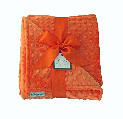 MEG Original Minky Dot Baby Blanket, Double-sided Orange 387