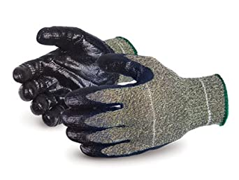 Superior SCXSMNT Emerald CX Kevlar/Wire-Core Steel/Nylon String Knit Glove with Nitrile Coated Steel Mesh Palm, Work, Cut Resistant, 10 Gauge Thickness, Medium (Pack of 1 Pair)