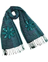 Dahlia Women's Fashion Knitted Large Flowers Long Scarf