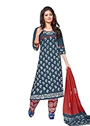 PADMiNi Ethnicwear Women's Dress Material Grey Free Size