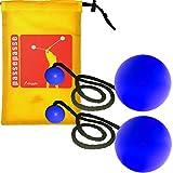 Bolas 80 mm azul contacto con inserciones de silicona, hilo de algodón negro y custodia 'iJuggle'.