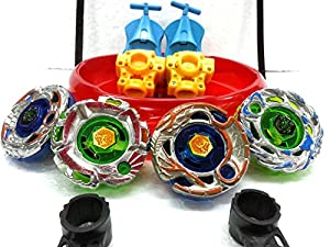 4 BIG Metal Beyblades with LED Lights, 4 Launchers, 1 BIG STADIUM, 2 Spring Action Launchers, Sunshine Exclusive