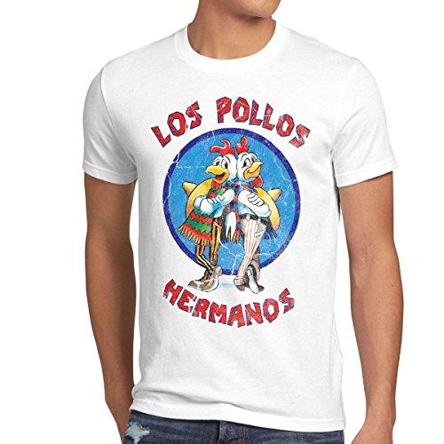 style3 Los Pollos T-Shirt da uomo, Dimensione:M;Colore:bianco