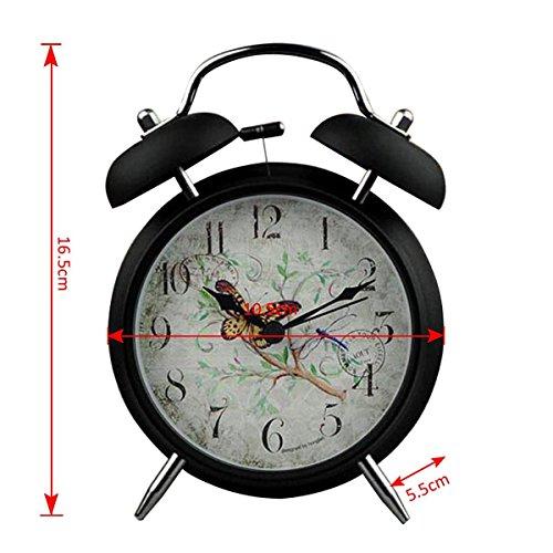 YESURPRISE Réveil matin Enfant Quartz Lumineux Alarme Clock Silencieux Libellule Noir