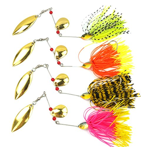 Aorace 4pcs/lot 14.8g Spinner Baits 0.52oz Buzz Baits Spinners Fishing Lures Metal Lure Strong Hooks Willow Skirt Gold Blades