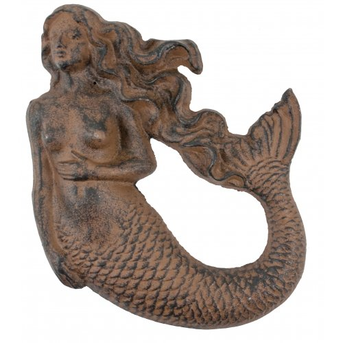 Antique Reproduction Cast Iron Mermaid Wall Decor Import