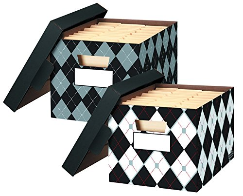 Fellowes Decorative Storage Box Argyle, 2-pack Letter/Legal