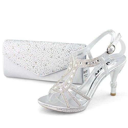 Silver Wedding Shoes 7 Cute SHOEZY Rhinestone High Heels