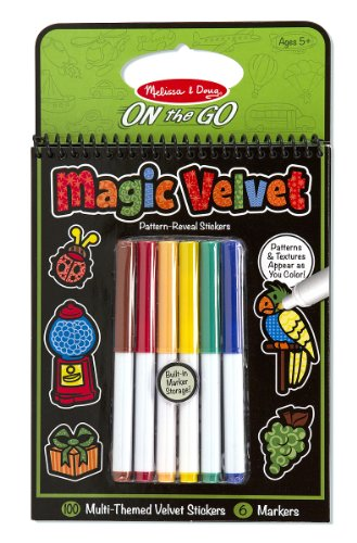 Melissa & Doug On the Go Magic Velvet Pattern-Reveal Sticker Book - 100+ Stickers, 6 Markers (Velvet Coloring Pictures compare prices)