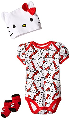 Hello-Kitty-Baby-Girls-Newborn-Bodysuit-Cap-and-Socks-3-Piece-Set