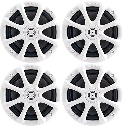 """2-Pair (4-Speakers) Kicker 09Km6130W Km6130W Km6130 Marine 6.5"""" Waterproof Coaxial 195-Watts Each White"""