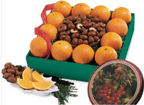 Gourmet Fruit Gift Basket - Orchard Fresh Navel Oranges & Chocolate Covered Cashews