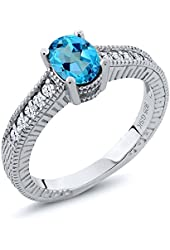 1.40 Ct Oval American Blue Mystic Topaz White Topaz 925 Sterling Silver Ring